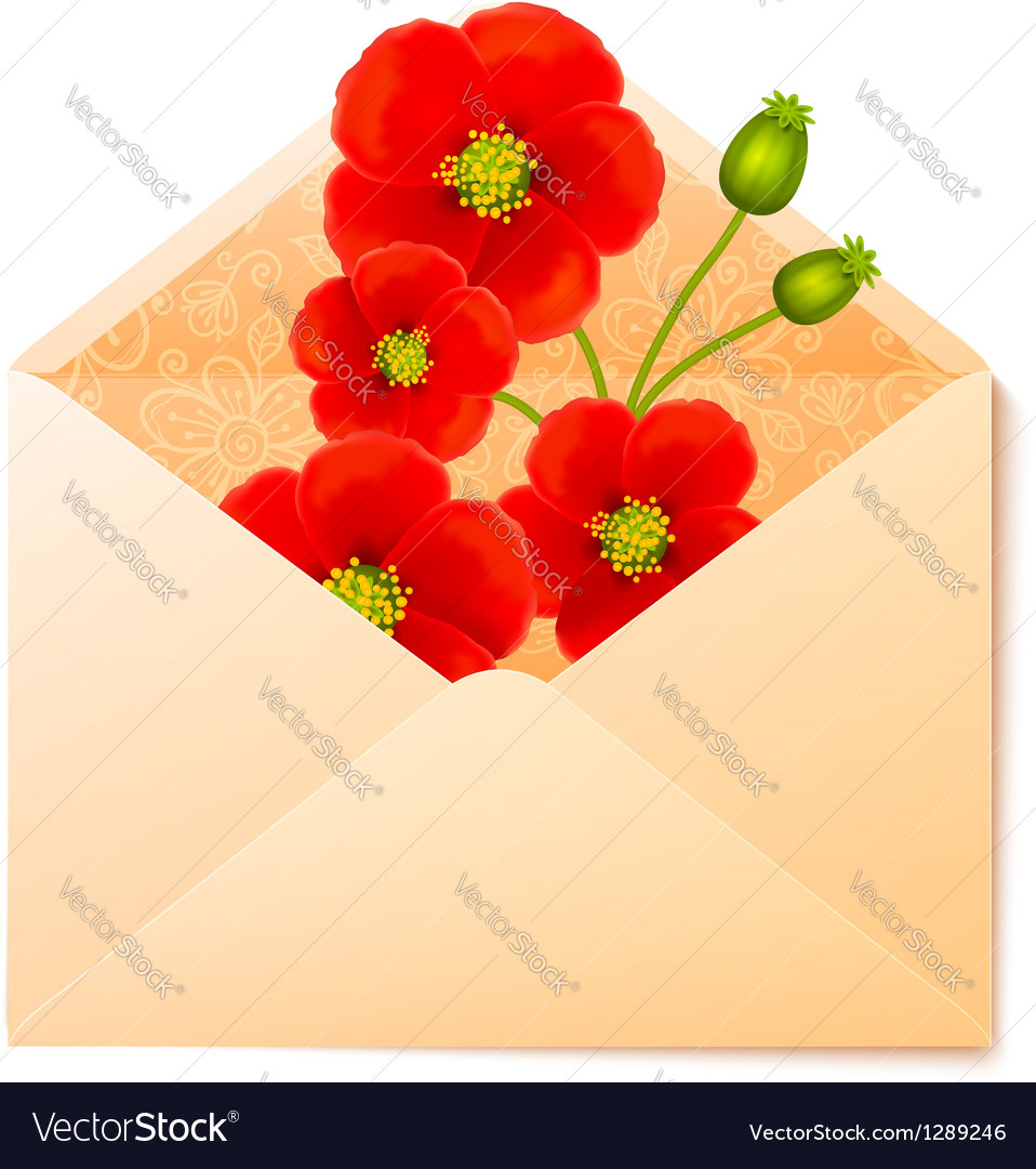 Vecot envelope with red flowers inside vector | Price: 1 Credit (USD $1)