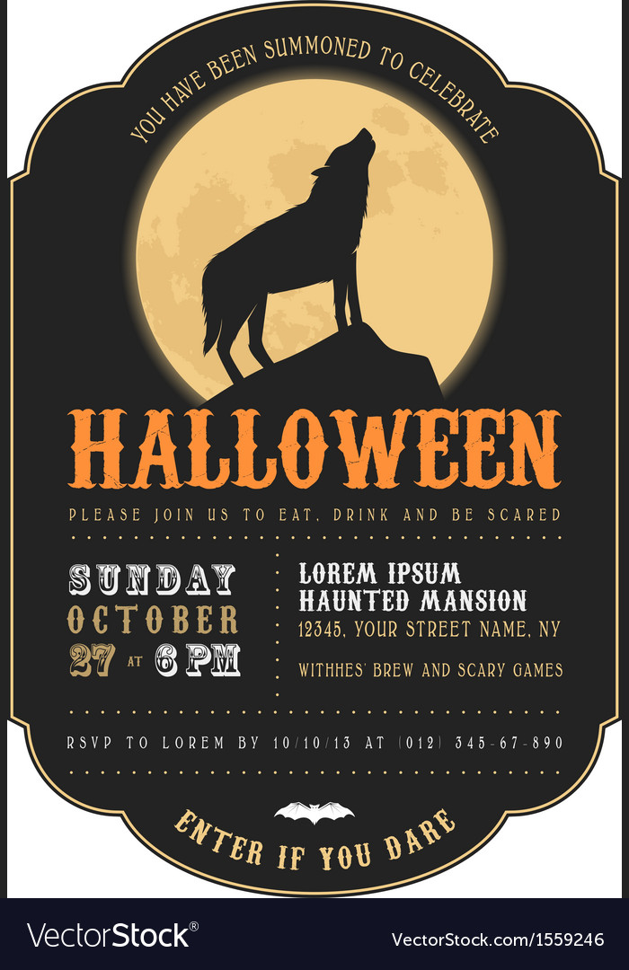 Vintage halloween invitation with howling werewolf vector | Price: 1 Credit (USD $1)