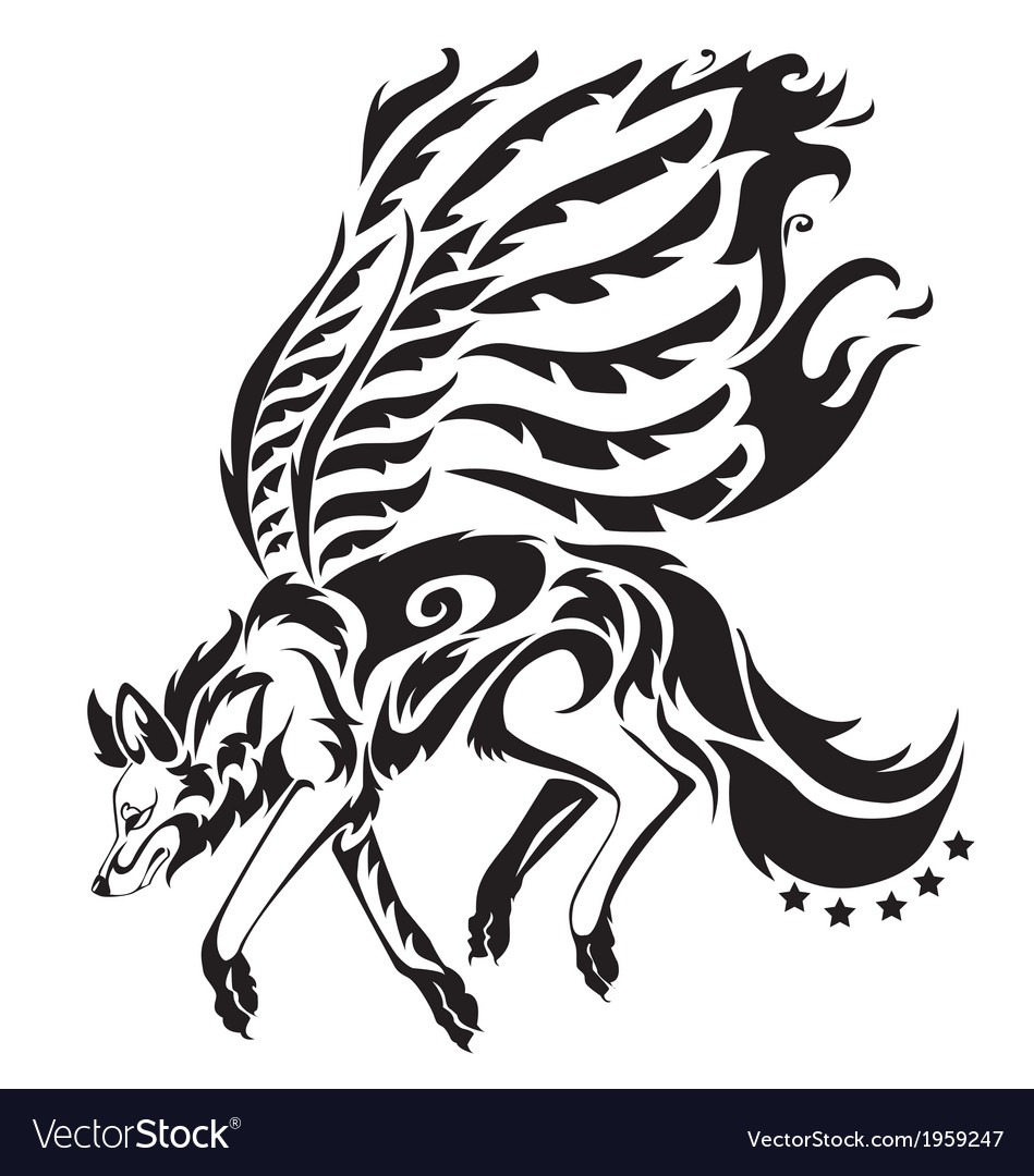 A tribal wolf with wing tattoo in black backgro vector | Price: 1 Credit (USD $1)
