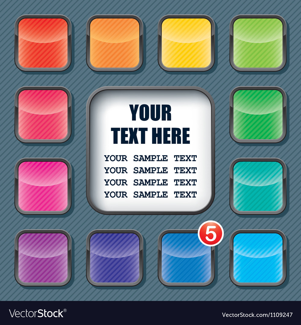 Apps icons set and text frame template vector | Price: 1 Credit (USD $1)