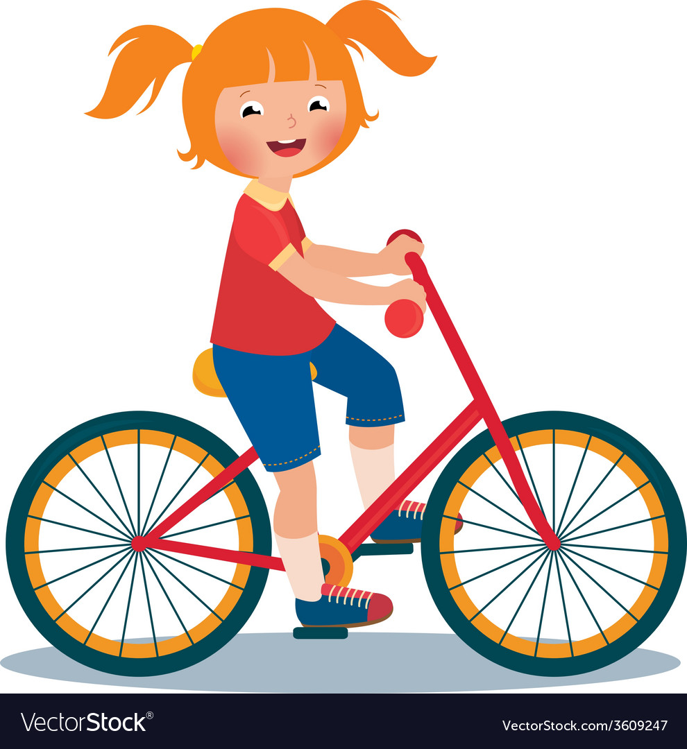 Child girl rides a bike vector | Price: 1 Credit (USD $1)