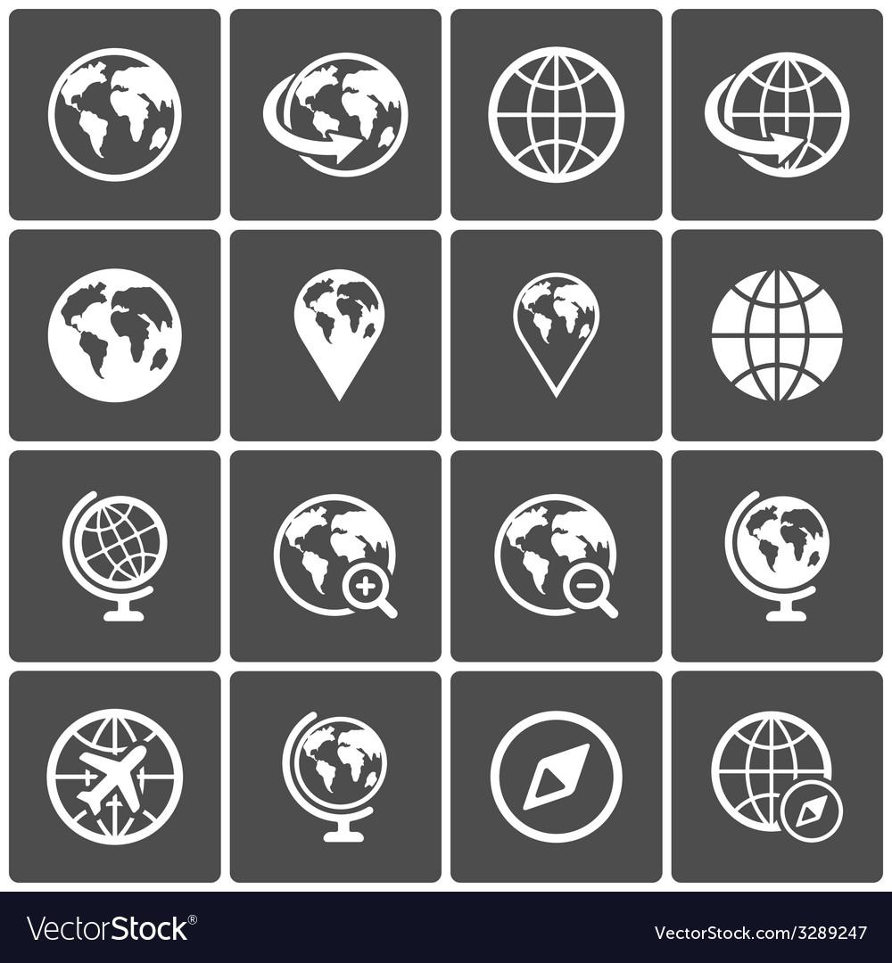 Globe icon pack on dark background vector | Price: 1 Credit (USD $1)