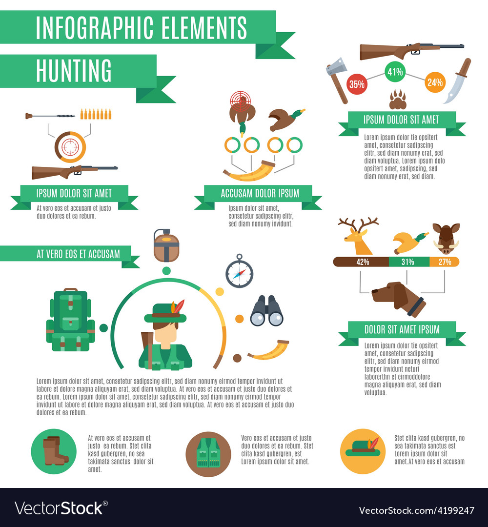 Hunting infographics set vector | Price: 1 Credit (USD $1)