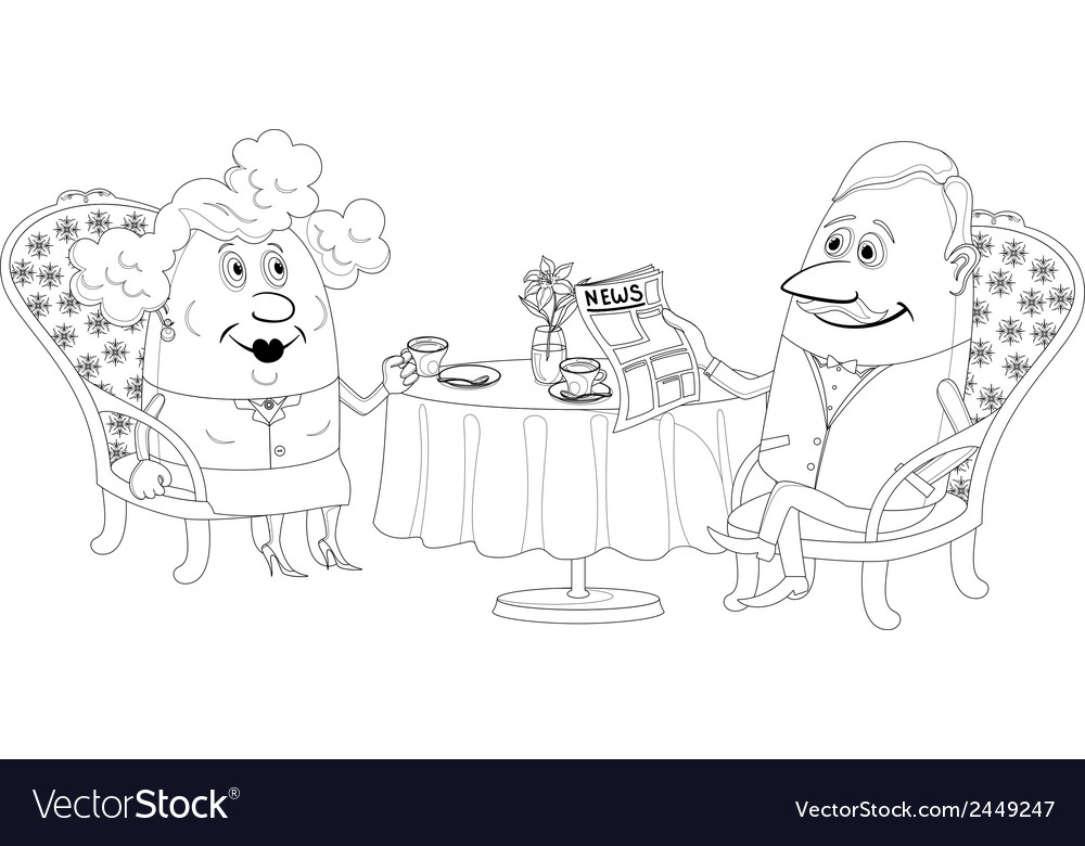 Old gentleman and lady drinking coffee contour vector | Price: 1 Credit (USD $1)