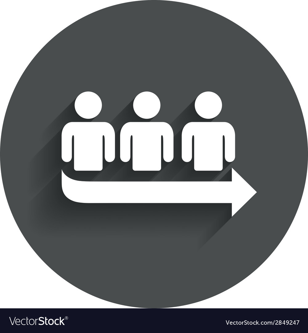 Queue sign icon long turn symbol vector | Price: 1 Credit (USD $1)