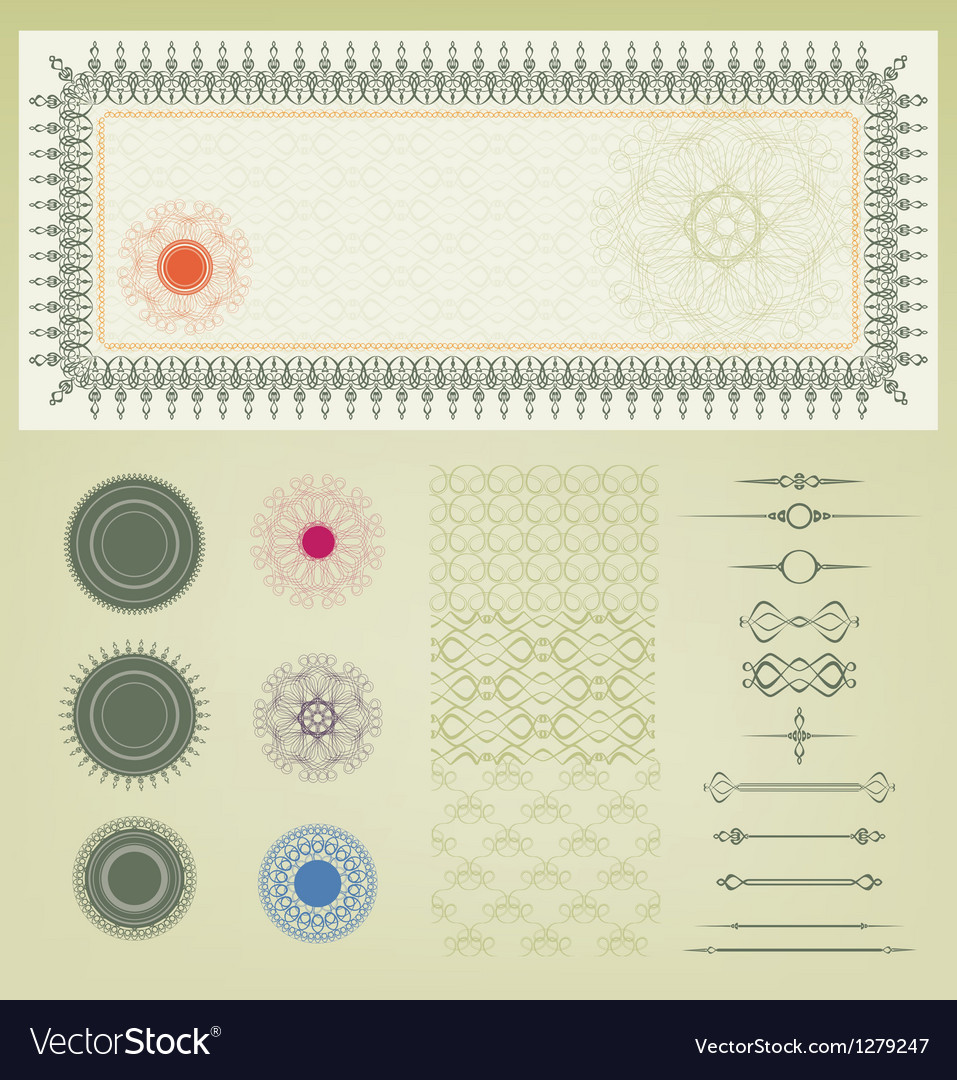 Set of certificate decoration element vector | Price: 1 Credit (USD $1)