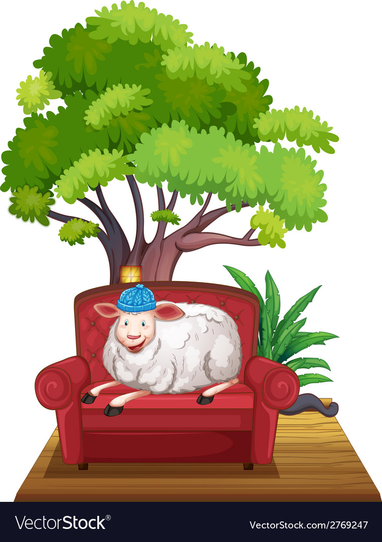 Sheep on sofa vector | Price: 1 Credit (USD $1)