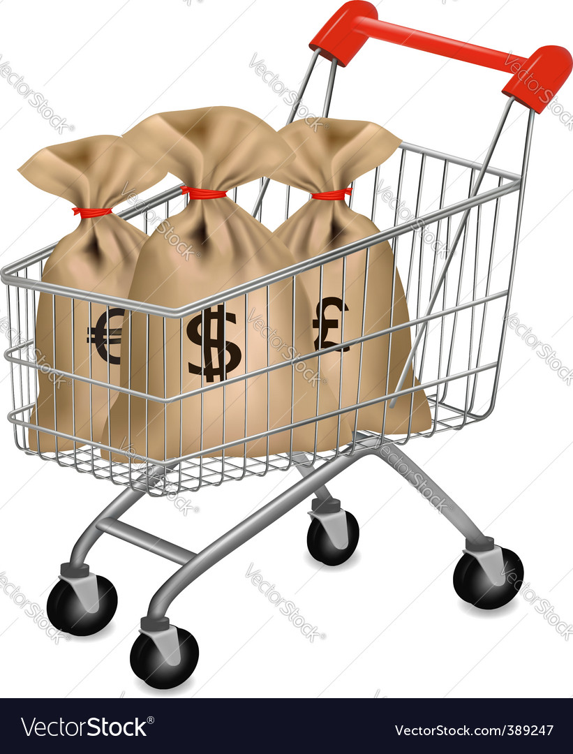 Shopping cart with sacks vector | Price: 1 Credit (USD $1)