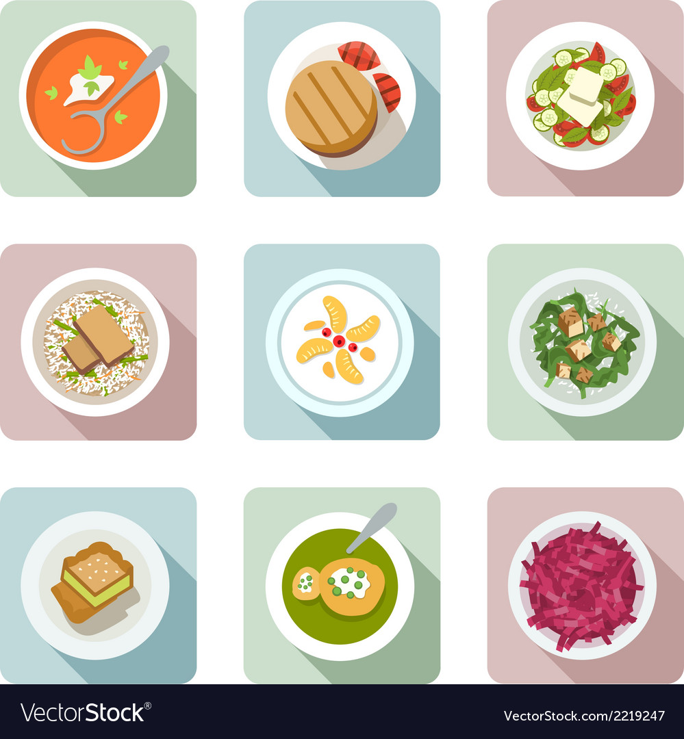Vegetarian cuisine flat icons in color vector | Price: 1 Credit (USD $1)