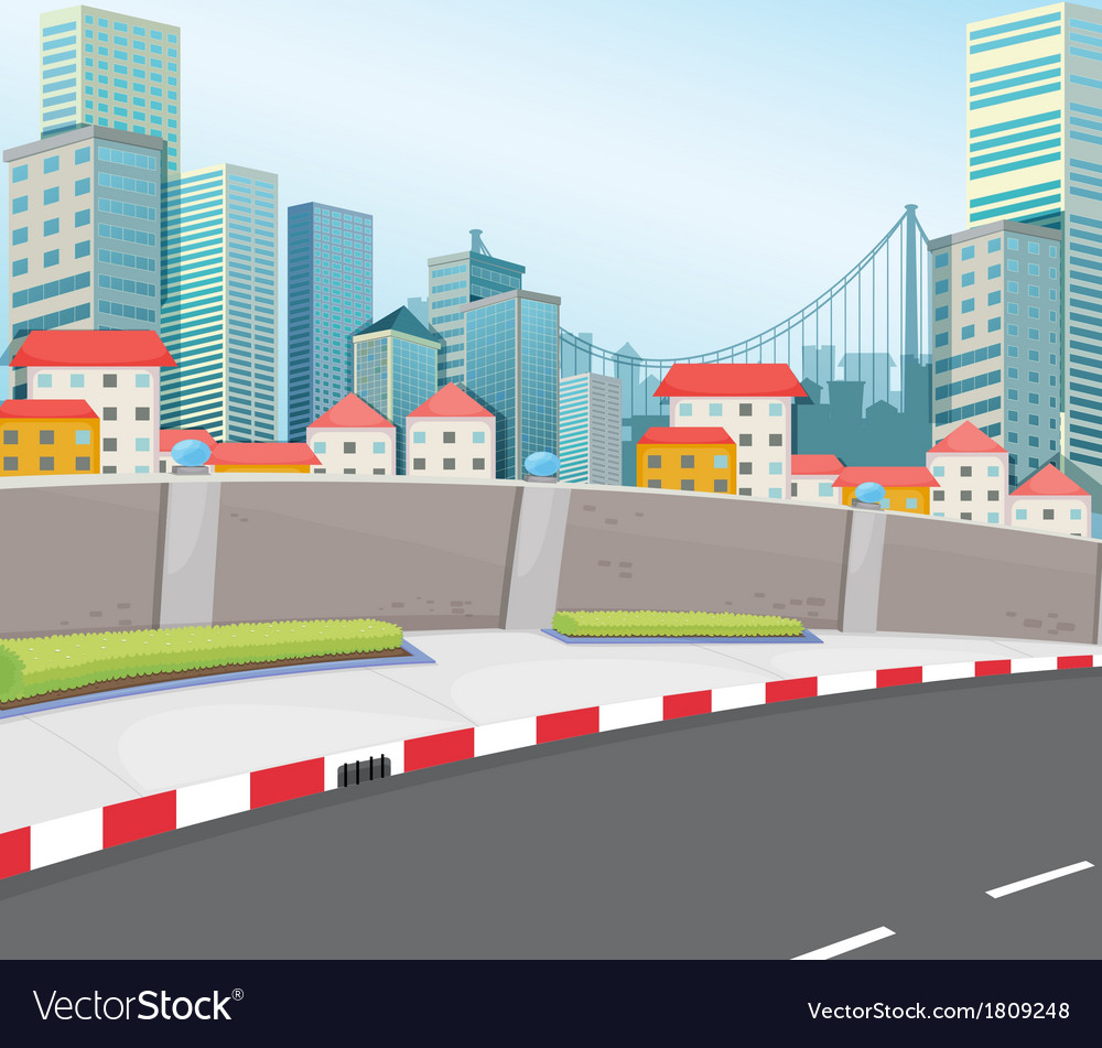 A city with tall buildings vector | Price: 1 Credit (USD $1)