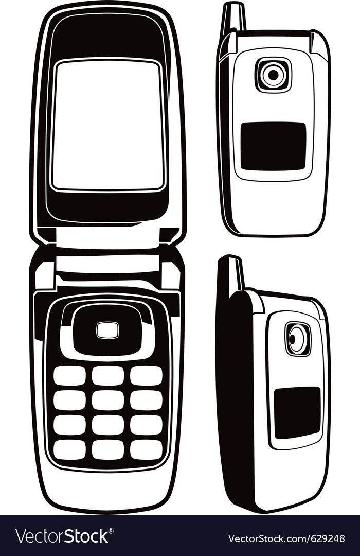 Black and white cellular phone set vector | Price: 1 Credit (USD $1)