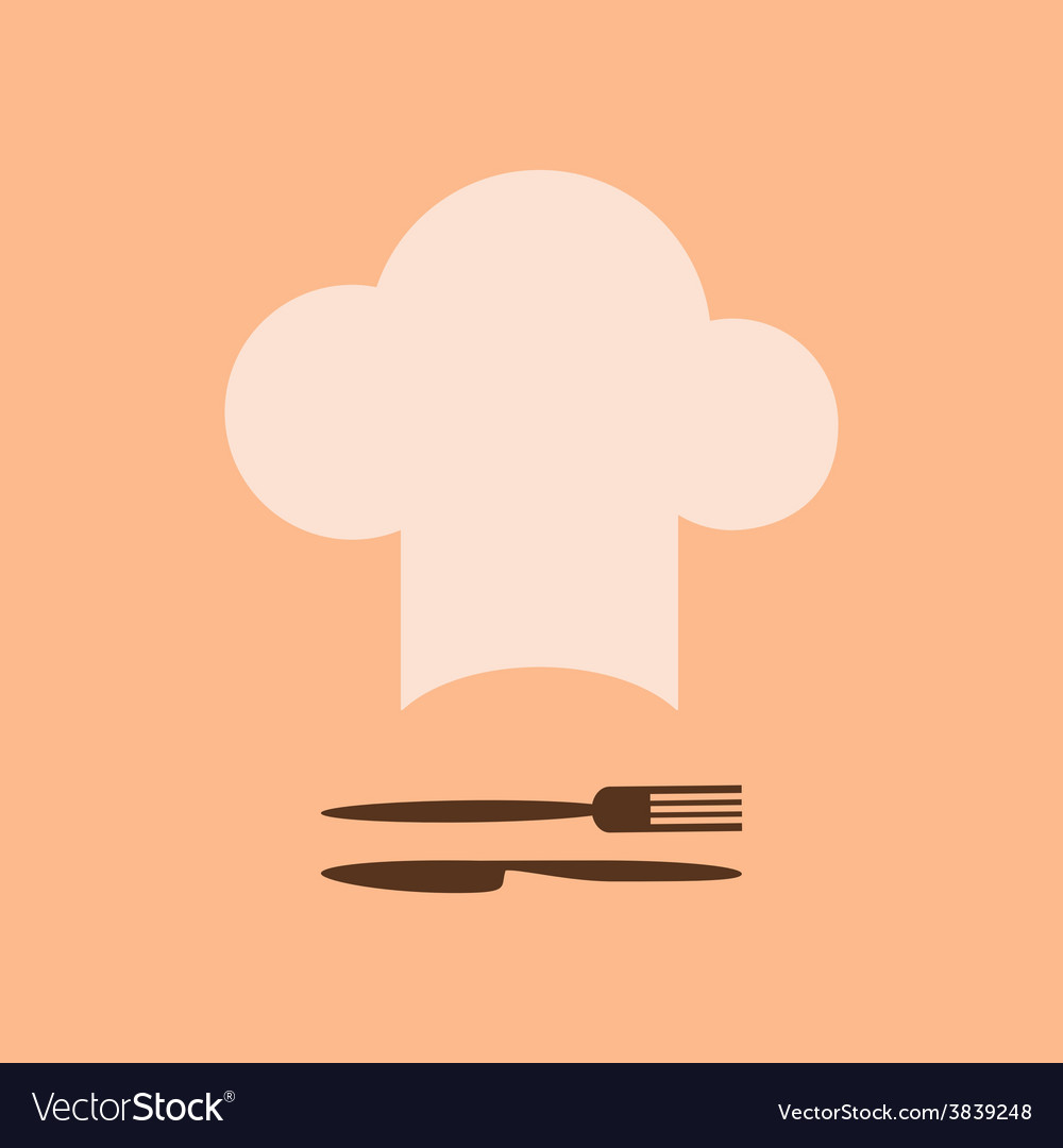 Chef hat and fork with knife vector | Price: 1 Credit (USD $1)