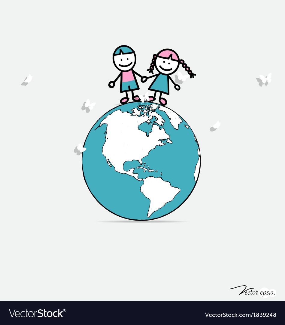 Cute children on globe vector | Price: 1 Credit (USD $1)