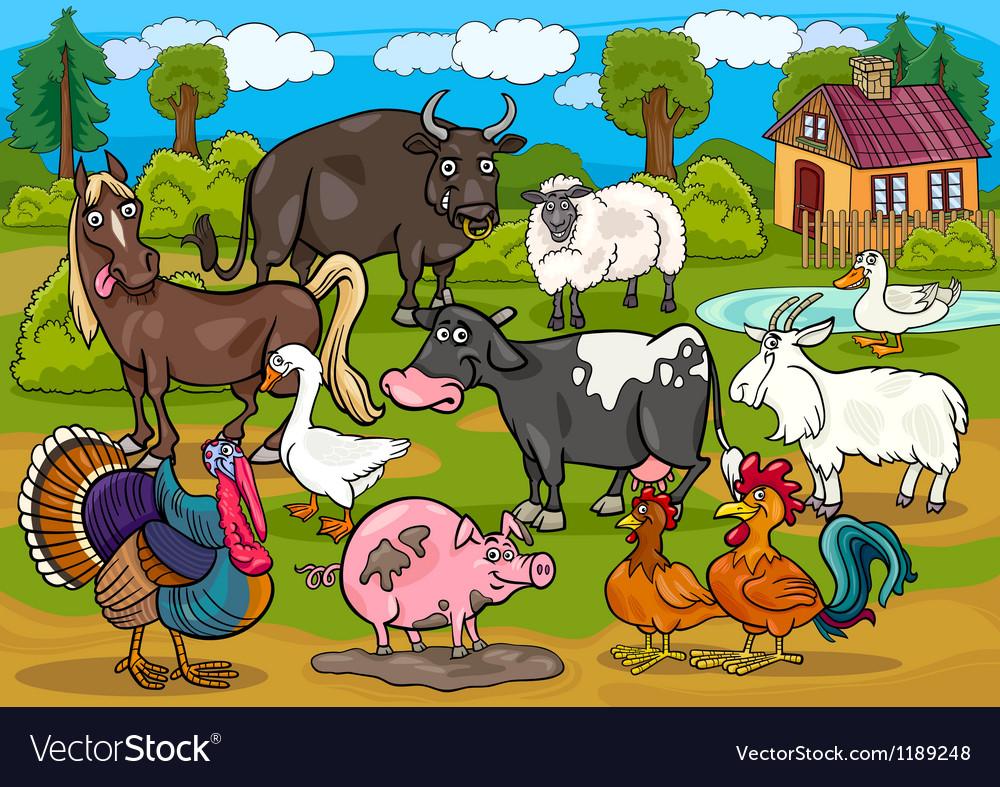 Farm animals country scene cartoon vector   Price: 1 Credit (USD $1)
