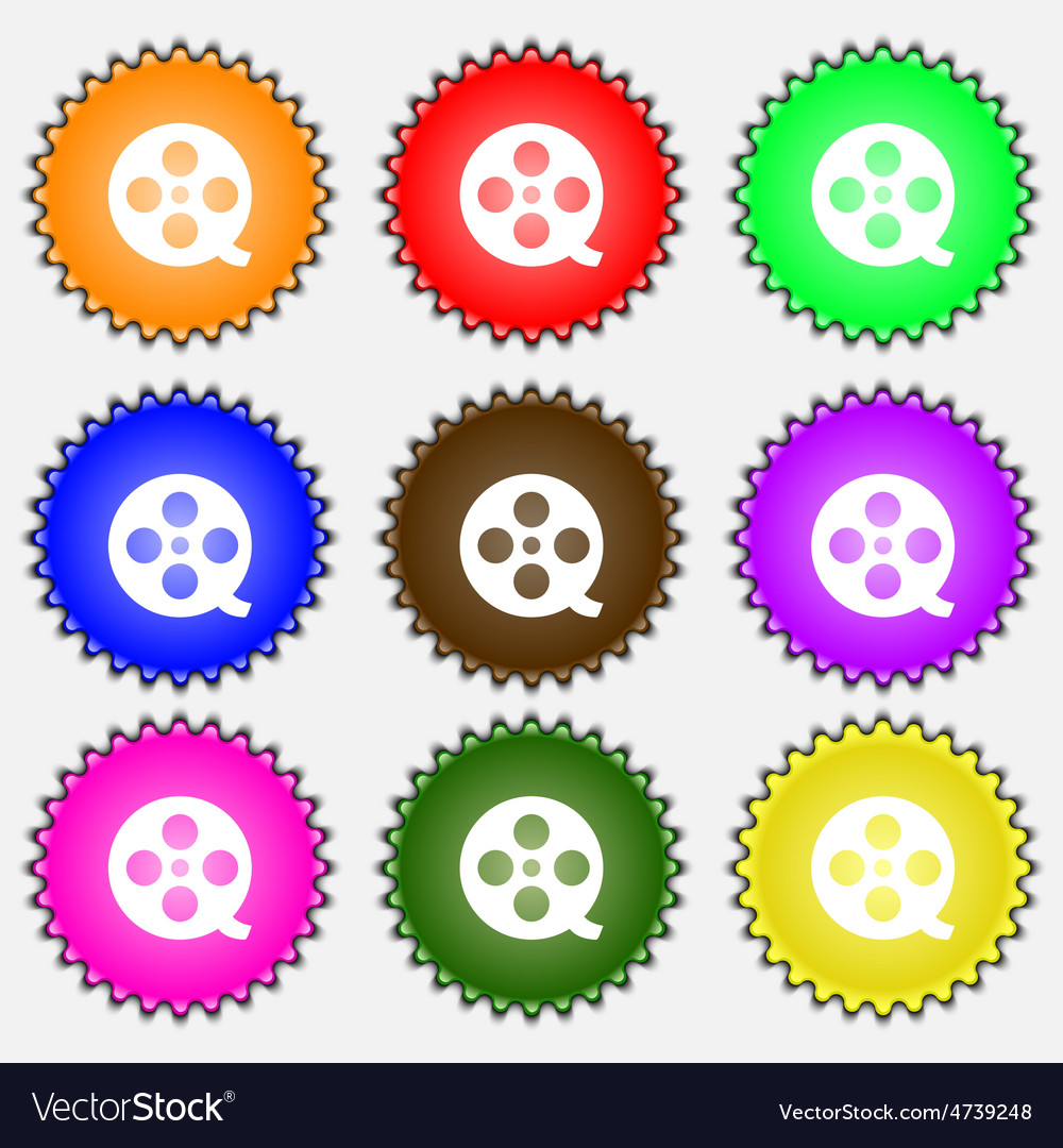 Film icon sign a set of nine different colored vector | Price: 1 Credit (USD $1)