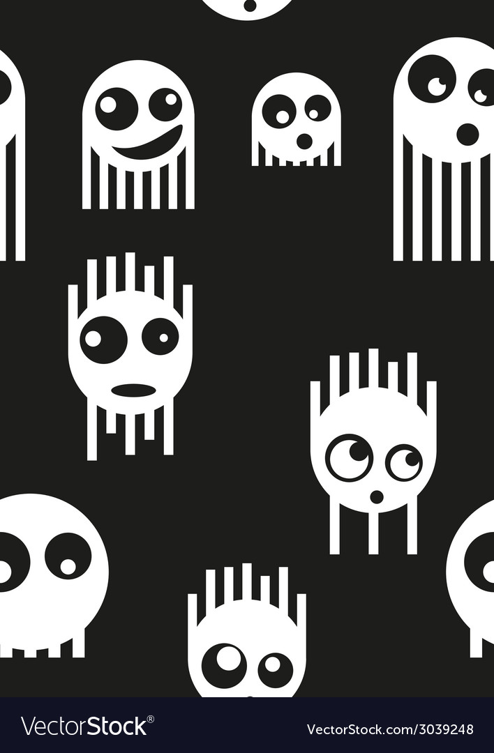 Ghost monsters seamless pattern vector | Price: 1 Credit (USD $1)