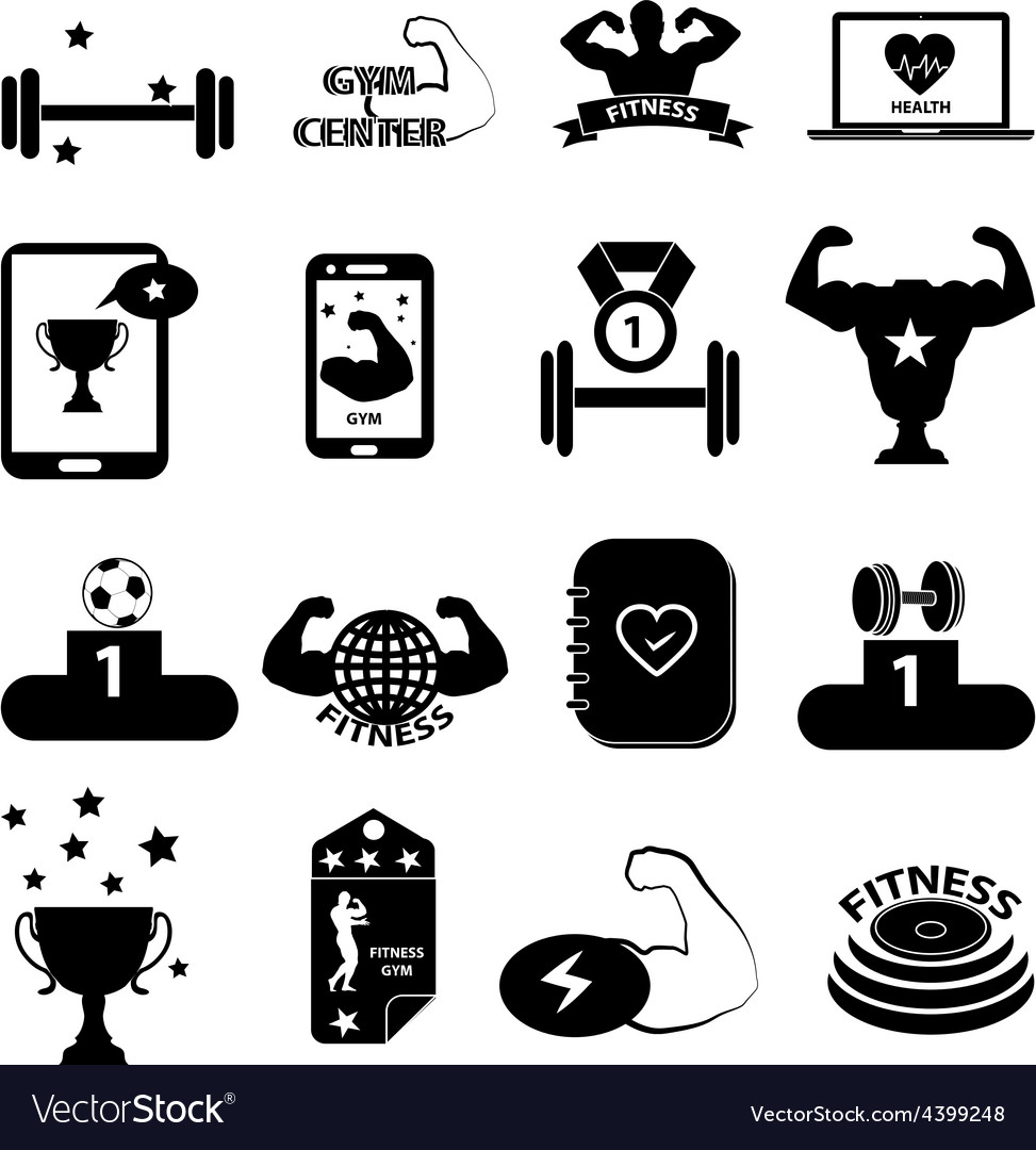 Gym fitness icons set vector | Price: 3 Credit (USD $3)