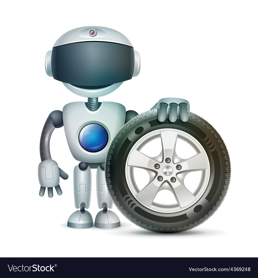 The robot with a car wheel vector | Price: 3 Credit (USD $3)