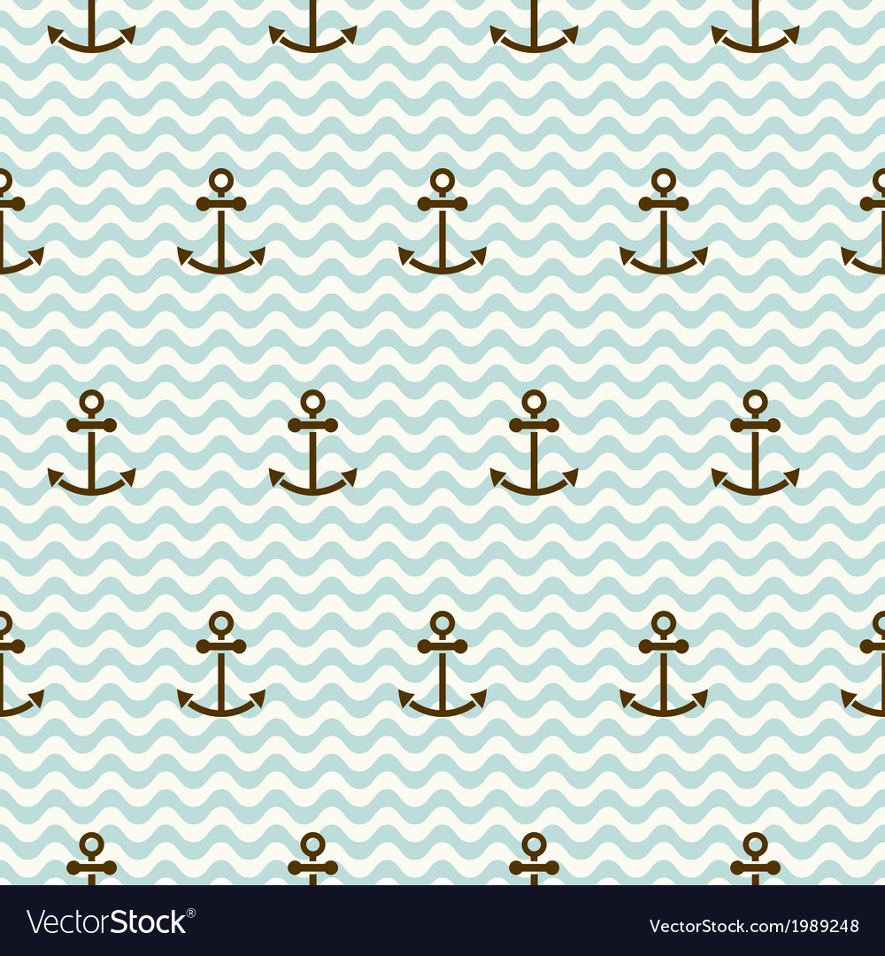 Seamless sea pattern of anchors and waves vector | Price: 1 Credit (USD $1)