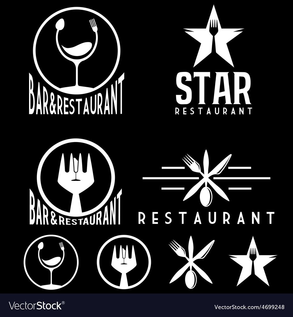 Set of vintage cafe and restaurant emblems vector   Price: 1 Credit (USD $1)