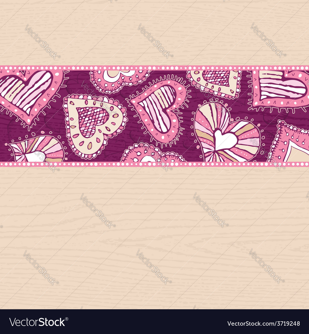 Valentines background with hand draw hearts vector | Price: 1 Credit (USD $1)