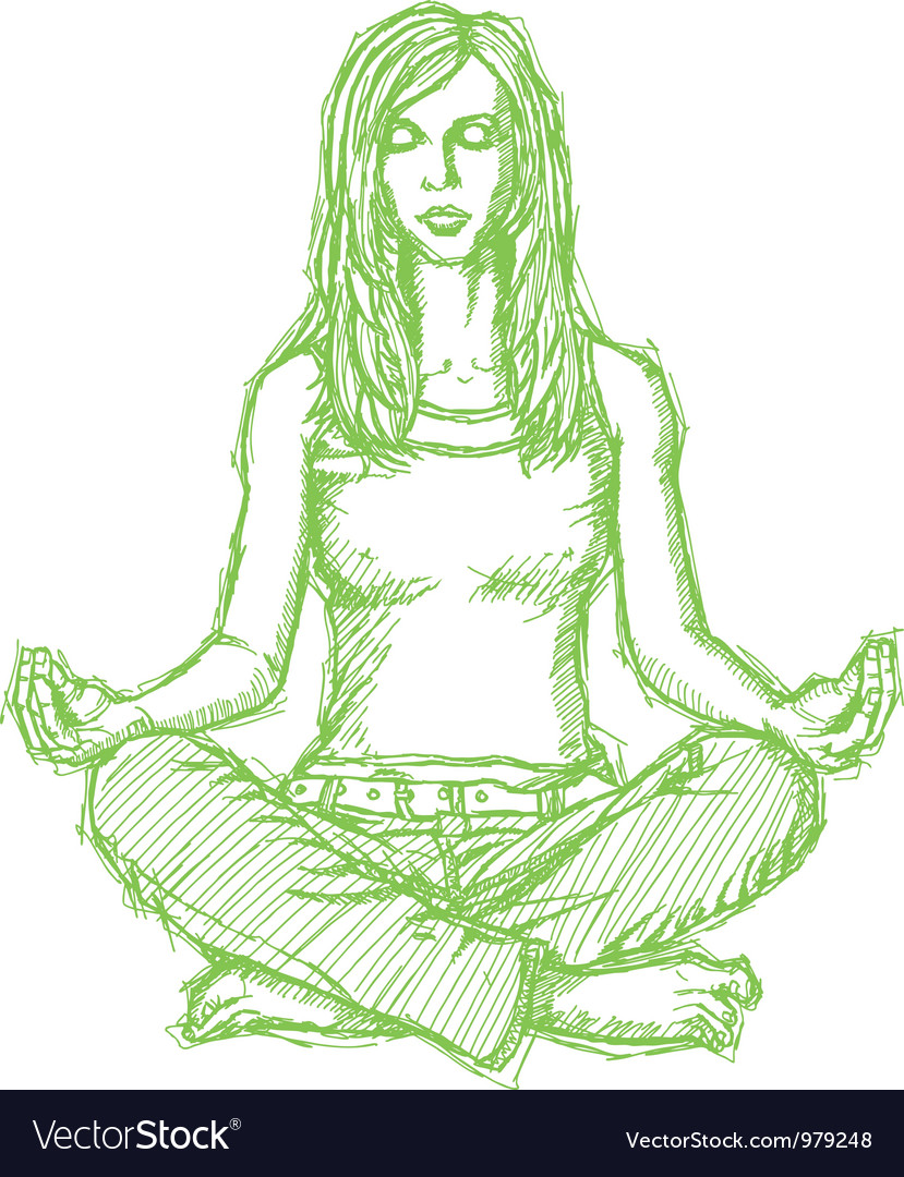 Woman meditation lotus pose vector | Price: 1 Credit (USD $1)