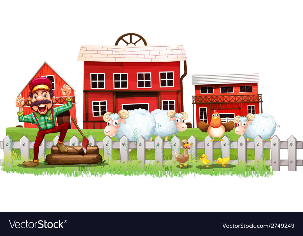 A farmer in front of the barnhouses vector | Price: 1 Credit (USD $1)