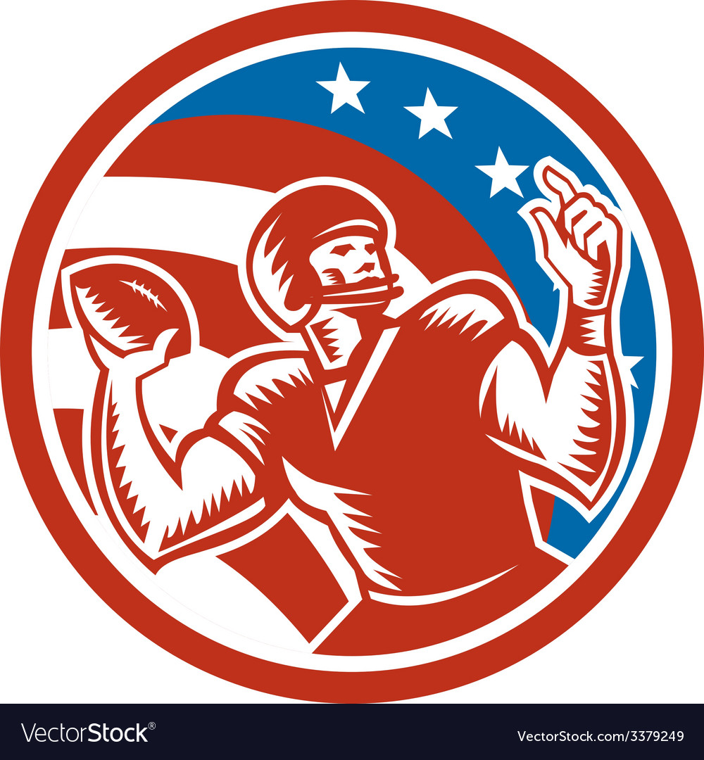 American football qb throwing usa flag retro vector | Price: 1 Credit (USD $1)