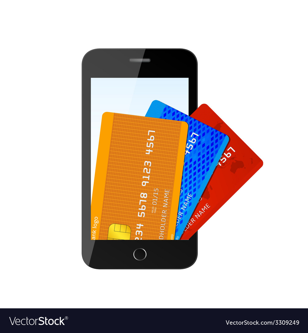Credit card with phone vector | Price: 1 Credit (USD $1)