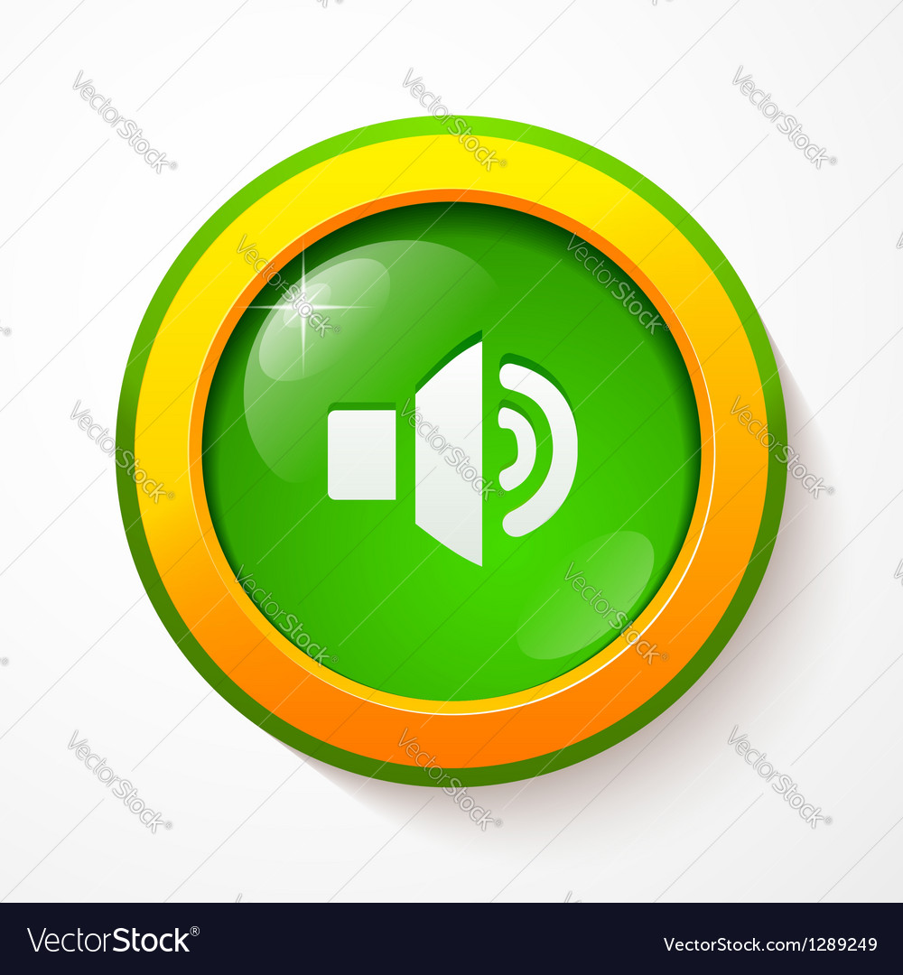 Green glass sound button vector | Price: 1 Credit (USD $1)