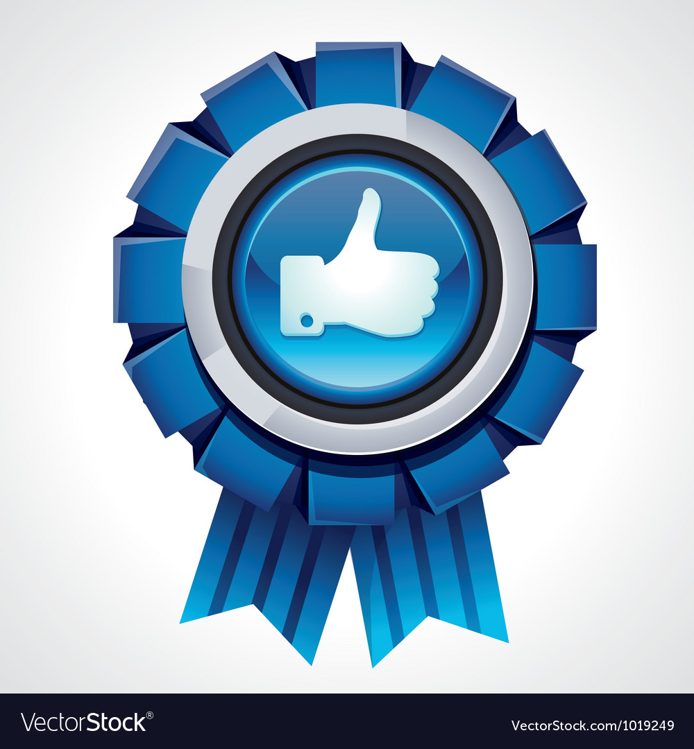 Like sign on glossy award icon vector | Price: 1 Credit (USD $1)