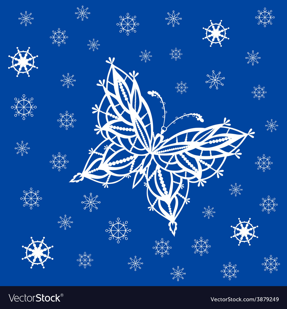 Ornamented abstract lace snowflake butterfly and vector   Price: 1 Credit (USD $1)