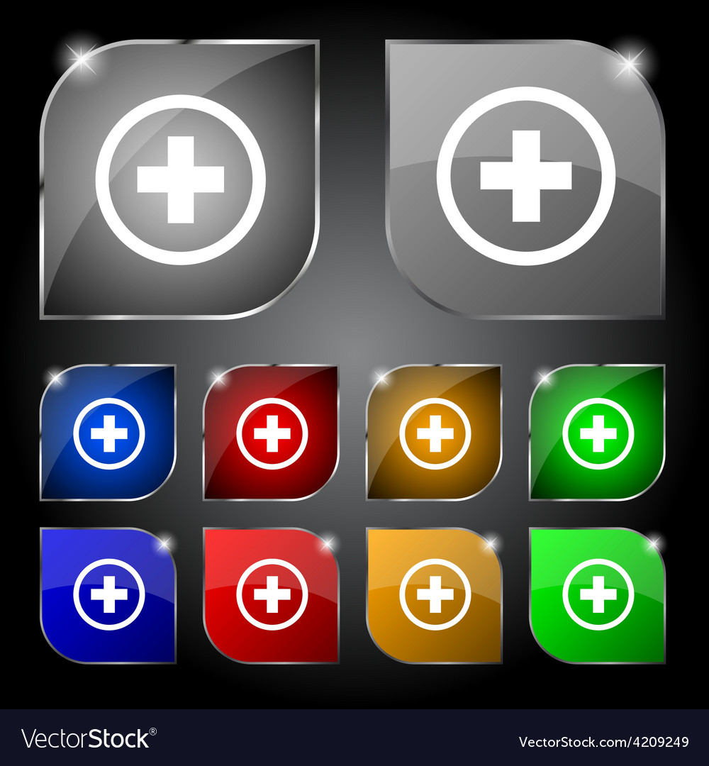 Plus positive zoom icon sign set of ten colorful vector | Price: 1 Credit (USD $1)
