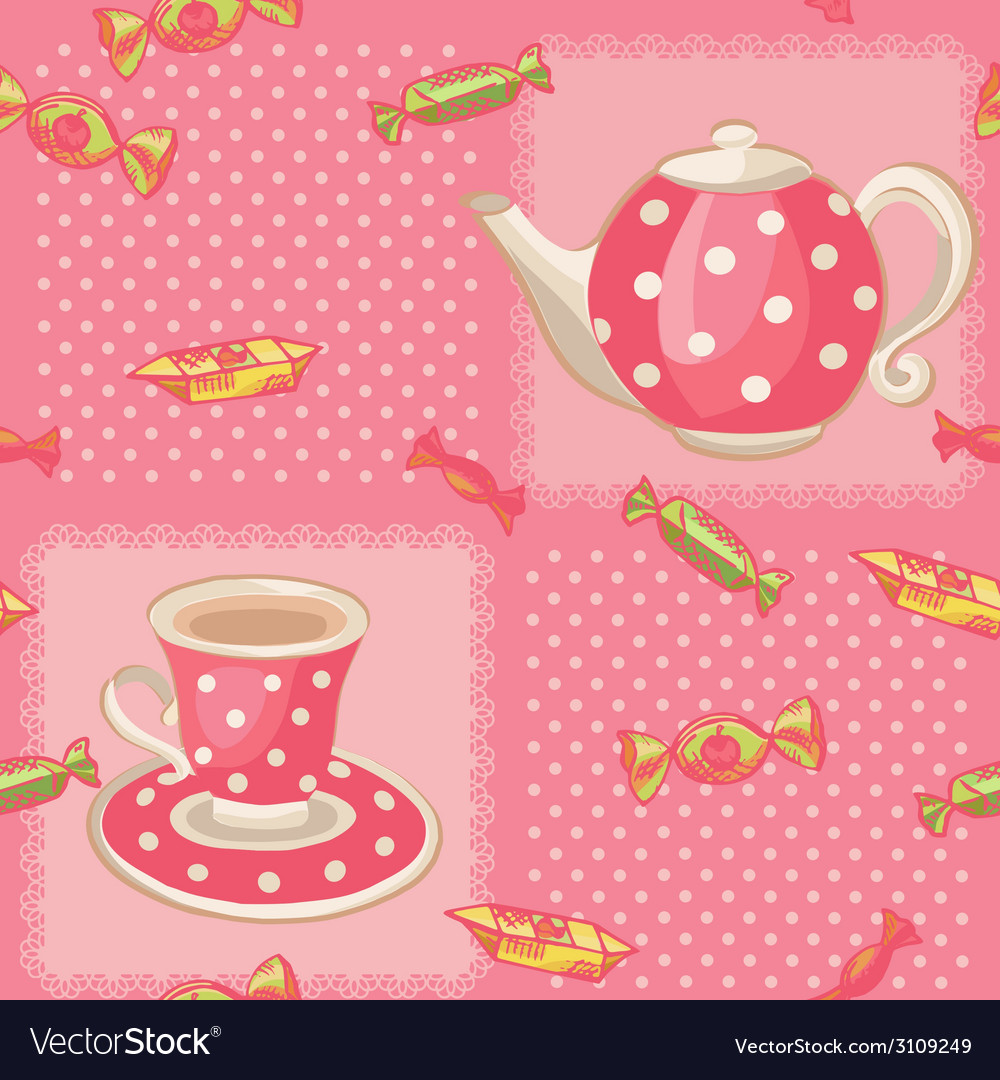 Seamless pattern with tea set vector | Price: 1 Credit (USD $1)