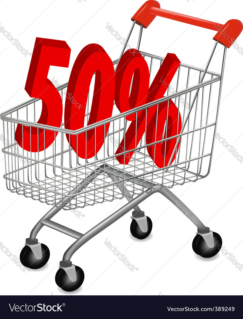 Shopping cart with 50pr vector | Price: 1 Credit (USD $1)