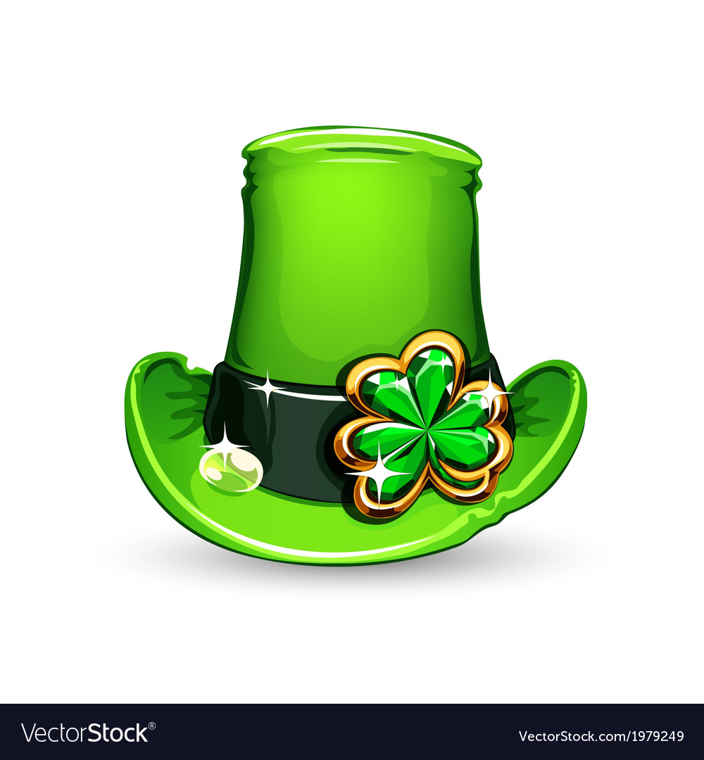 St patricks day emerald clover on hat vector | Price: 1 Credit (USD $1)