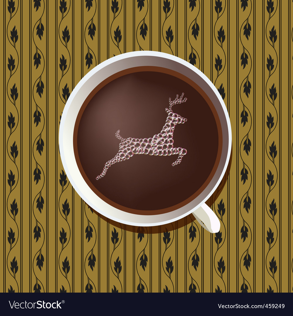 Stag in coffee cup vector | Price: 1 Credit (USD $1)