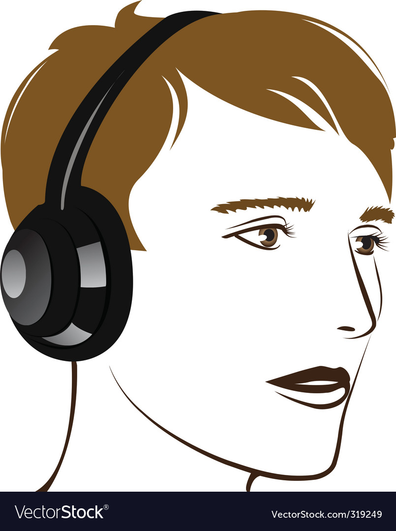 Young man listening music vector | Price: 1 Credit (USD $1)