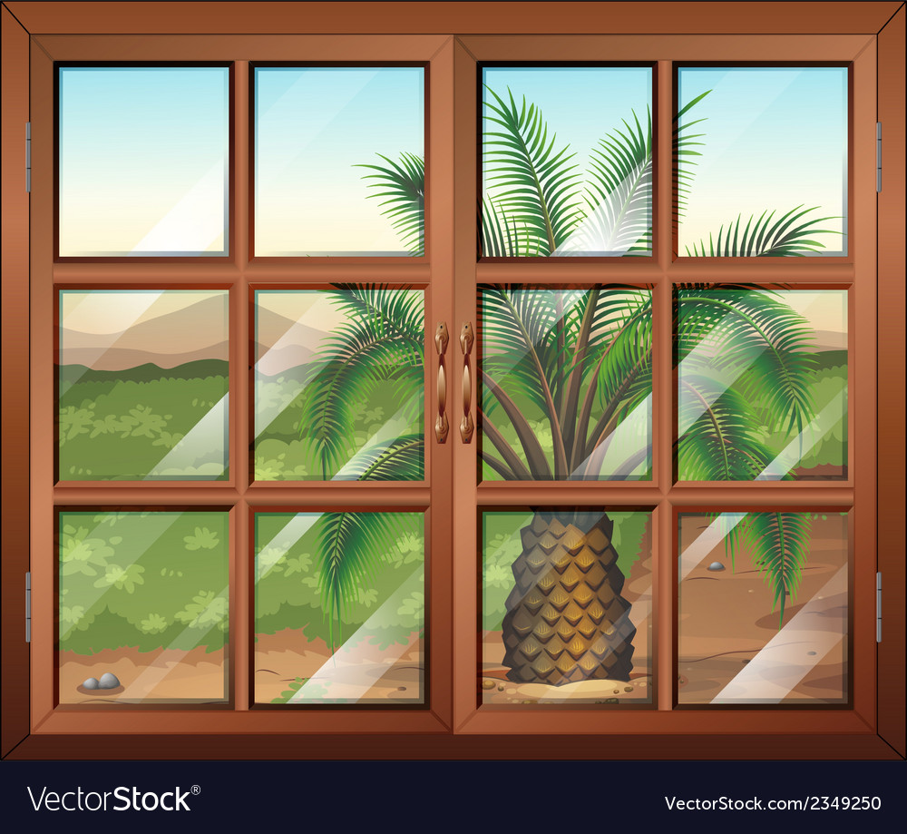 A window with a view of the palm plant outdoor vector | Price: 1 Credit (USD $1)