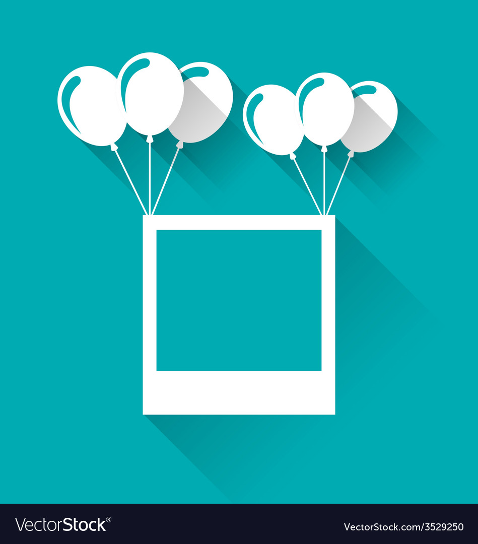 Blank photo frame with balloons for your holiday - vector | Price: 1 Credit (USD $1)