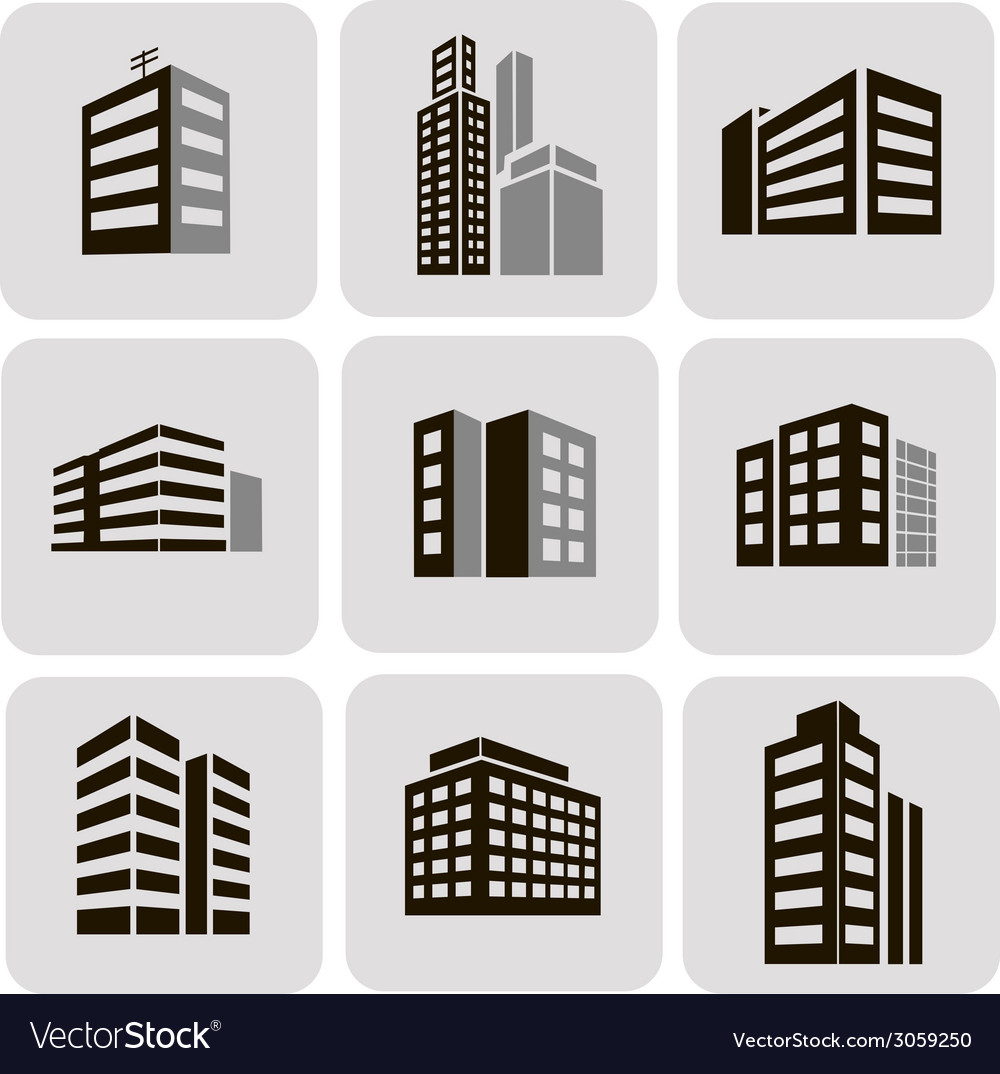 Buildings web sticker icons set vector | Price: 1 Credit (USD $1)