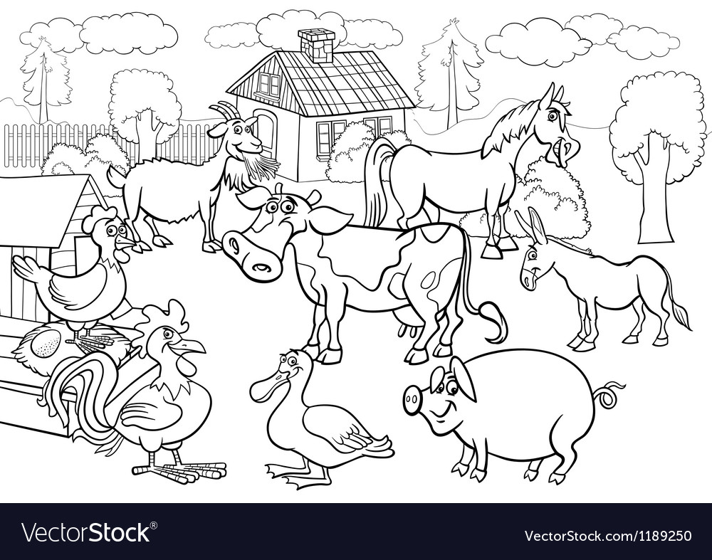 Farm animals cartoon for coloring book vector | Price: 1 Credit (USD $1)