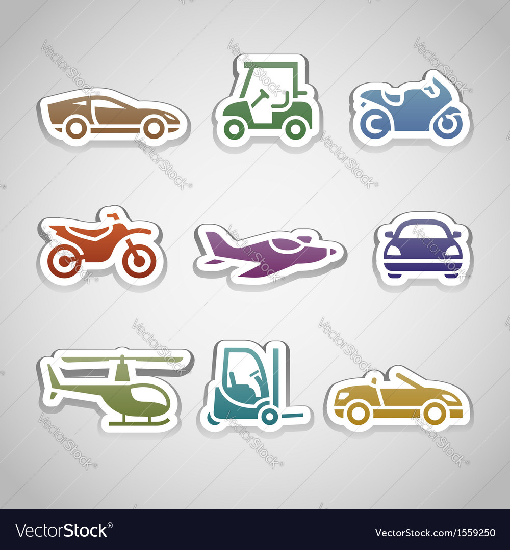 Flat retro color stickers - set eleven vector | Price: 1 Credit (USD $1)
