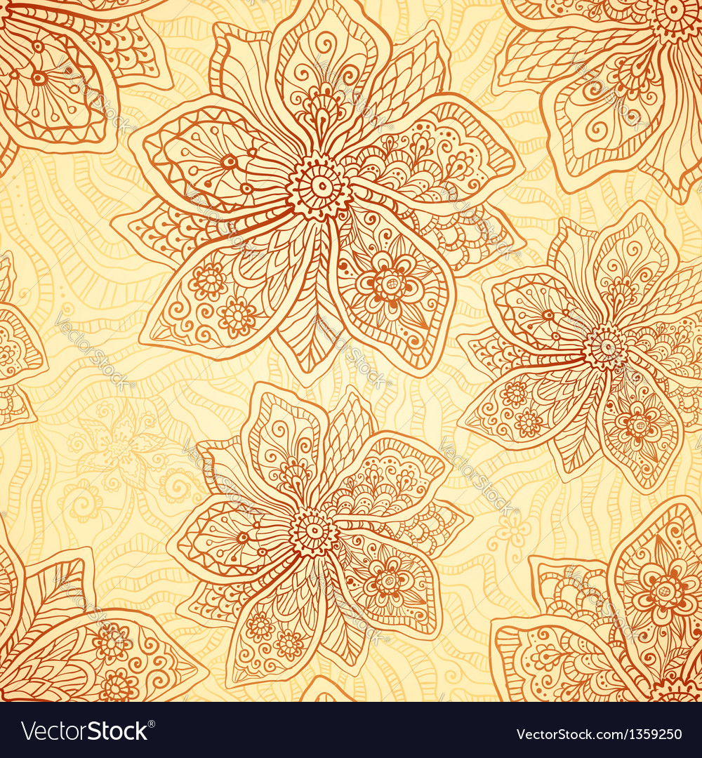Henna colors ethnic style seamless pattern vector | Price: 1 Credit (USD $1)