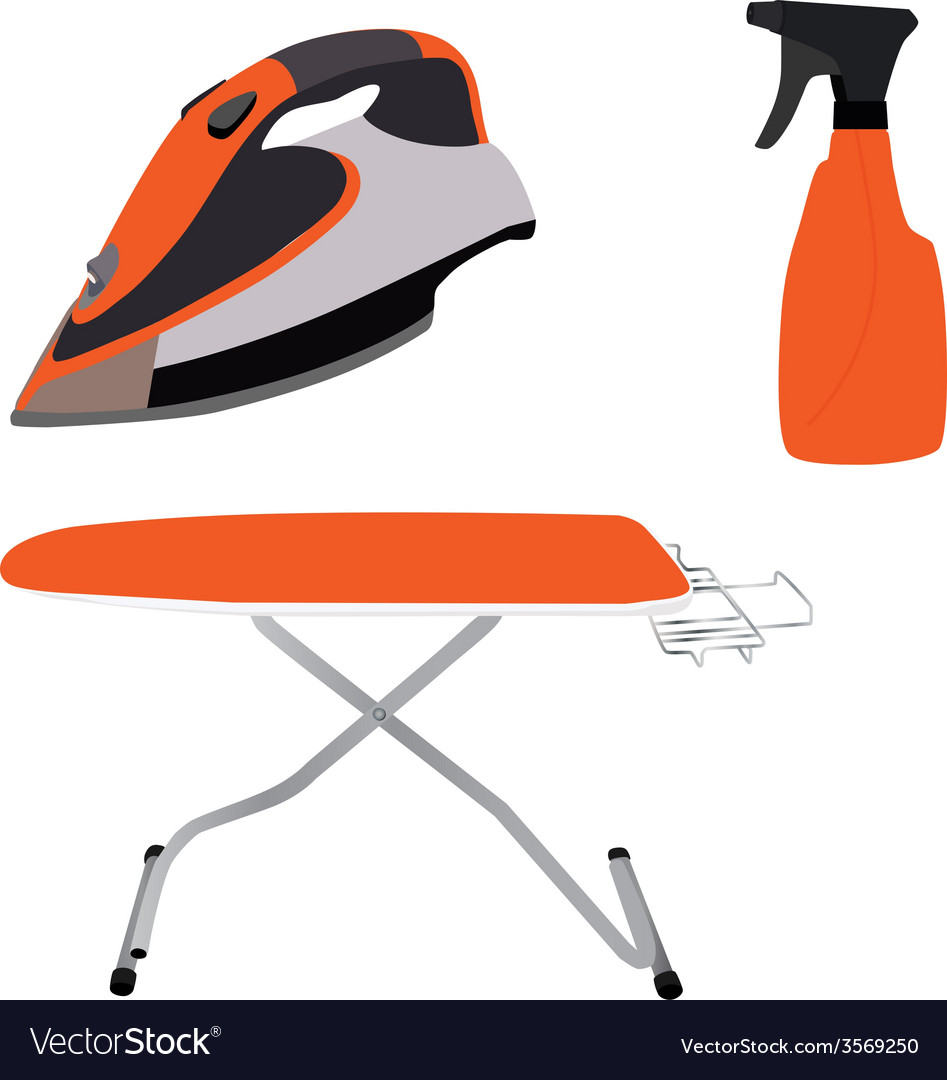 Orange ironing board iron and spray vector | Price: 1 Credit (USD $1)