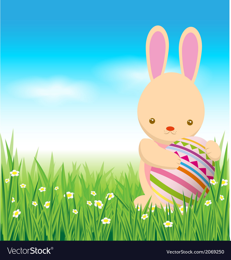 Rabbit and easter eggs on green grass vector | Price: 1 Credit (USD $1)