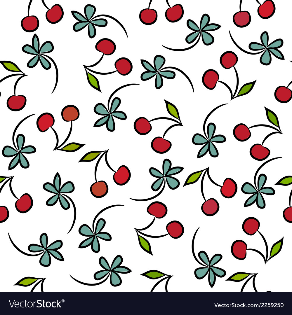 Seamless pattern with cherries vector | Price: 1 Credit (USD $1)