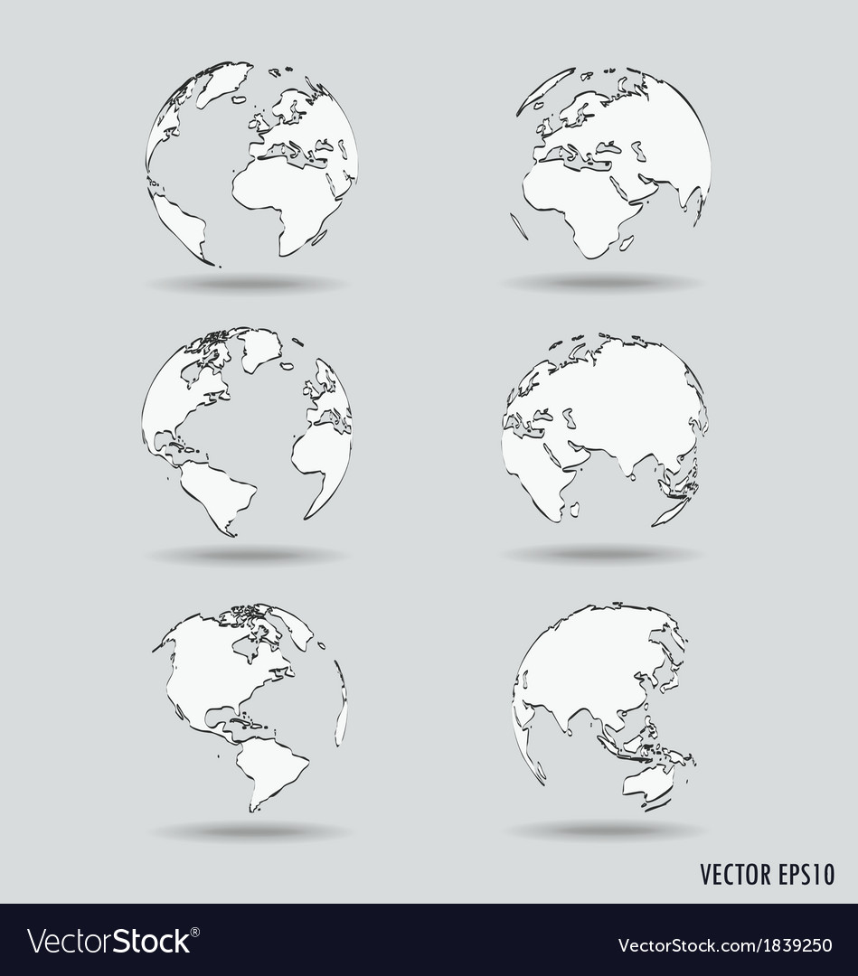 Set of modern globe drawing concept vector | Price: 1 Credit (USD $1)