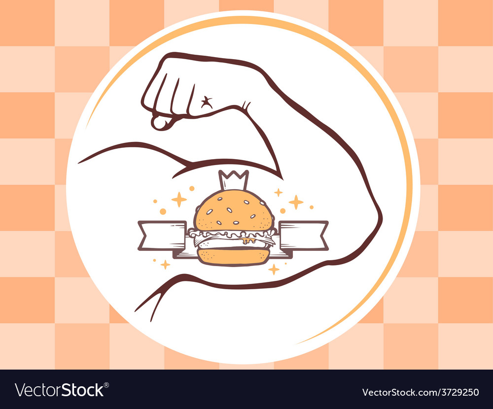 Strong man hand with big burger icon on b vector | Price: 1 Credit (USD $1)
