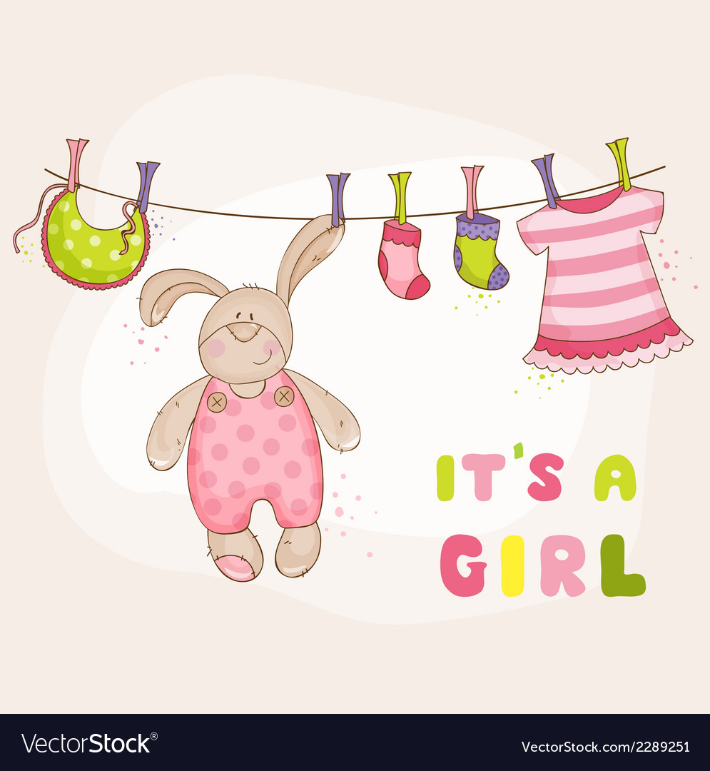 Baby bunny shower or arrival card vector   Price: 1 Credit (USD $1)